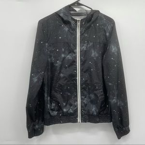 Zine Black Galaxy Print Windbreaker Zip Up Jacket